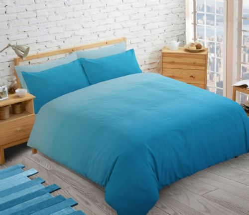 AQUA BLUE 2 TONE FADE  TEENAGER KIDS BOYS GIRLS DUVET QUILT COVER SET PLAIN COLOUR BEDDING
